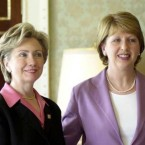 The Clintons met the McAleeses on numerous occasions. Here the former First Lady and current US Secretary of State is pictured with McAleese in 2002.