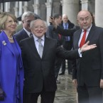 Michael D Higgins and his wife Sabina arriving for the inauguration ceremony with Ruairi Quinn TD Minister for Education and Skills (right). Image: Sasko Lazarov/Photocall Ireland