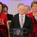 Applause for new President Michael D Higgins, from all at Dublin Castle including former presidents Mary Robinson (left) and Mary McAleese (right) Image: Photocall Ireland/Gis