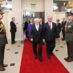 Michael D. Higgins with sn Tanaiste Eamon Gilmore arriving inside Dublin Castle. Image: Photocall Ireland/GIS