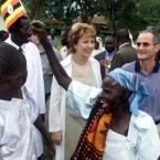 McAleese pictured with her husband Martin during a 2001 visit to Uganda in Africa.