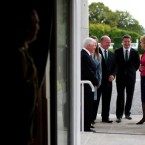 Captain Brian O'Driscoll and coach Declan Kidney talk with the presidential couple and their daughter Sara during a reception for the at Aras an Uachtarain during the Irish Rugby Football Union ahead of the 2011 World Cup.