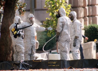 File photo of a hazardous material team outside Capitol Hill in the US in October 2001.