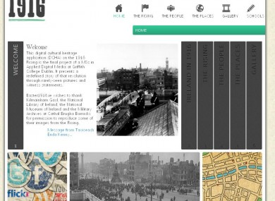 The home page of the Easter1916.ie si