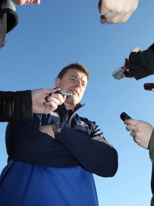 Brian O'Driscoll at this morning's Leinster media briefing.