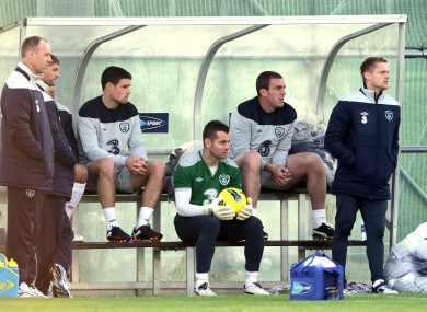 Given with teammates on the sidelines yesterday. The Villa man sat out the session again today.