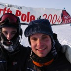 Mark, right, after completing a marathon at the North Pole in 2004.
