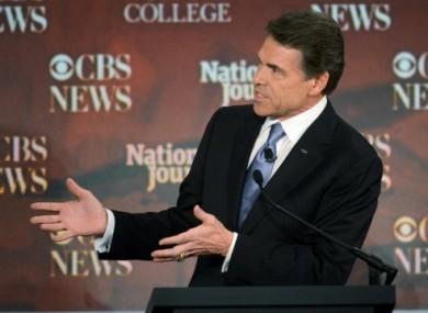 Rick Perry during last night's debate.