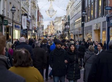 Shoppers on Grafton Street last Saturday.