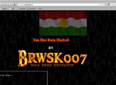 A screengrab of the site during the hacking