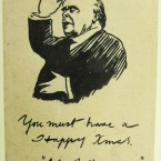 A card drawn by artist Frank O'Neill to avid theatregoer Joseph Holloway. (From the Joseph Holloway Collection)