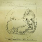 Card sketch is by Lord Ralph Kerr who illustrated The Owl and the Pussy Cat. The sender has added a 'grunt'. (Georgina Pim's Album of Christmas cards)
