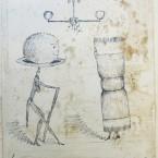 Hand-drawn card: He thinks she's a cracker, but she thinks he's too big-headed. (Arthur Conan's Christmas scrapbook)
