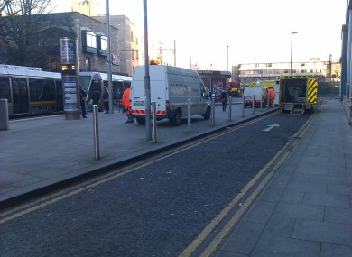 Emergency services at the scene of today's Luas and car collision.