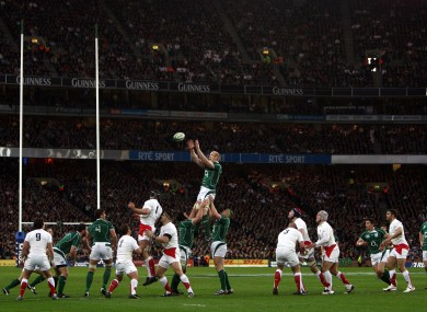 Paul O'Connell claims a line-out against England at Croker.