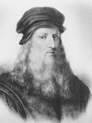 Leonardo da Vinci, Italian High Renaissance master, is shown in this undated portrait drawing