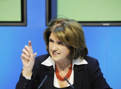 Minister Joan Burton speaking this afternoon