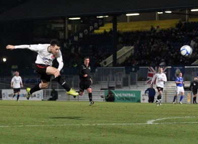 Quigley scoring on his Dundalk debut against Linfield last February.