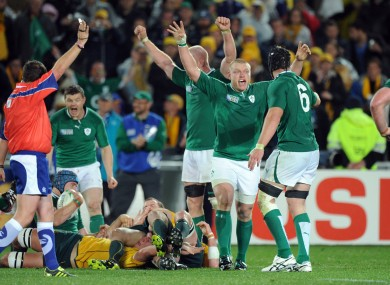 The Ireland players at the final whistle in the win over Australia.