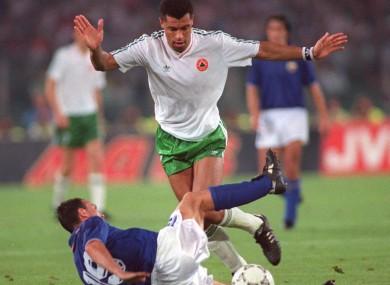 McGrath in full flight against Italy in 1990.