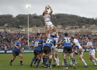 Leinster's Kevin McLaughlin wins a lineout yesterday.