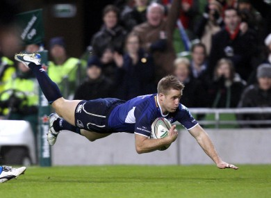 Luke Fitzgerald dives over for a try. The winger scored twice as Leinster cruised to a 52-27 win over Bath.