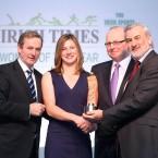 Taoiseach Enda Kenny presents the Sportswoman of the Year award to Nina, alongside Irish Times editor Kevin O'Sullivan and Kieran Mulvey, chairman of the Irish Sports Council.