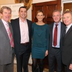 Sportswoman of the Month winner for August, high jumper Deirdre Ryan, August winner, with her father PJ, former Munster rugby player Alan Quinlan, former hurler Nicky English and Olympian Eamonn Coghlan.