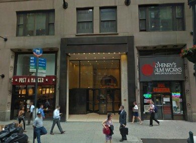 The building where the accident happened, on Madison Avenue, New York