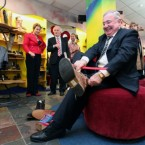 Labour's Pat Rabbitte got his new shoe leather sorted before hitting the campaign trail. Pic: Julien Behal/PA Wire