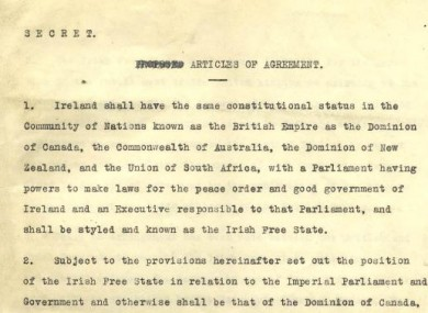An excerpt from the Anglo-Irish Treaty of 1921 which has just been published for the first time online in full, exactly 90 years after it was signed.