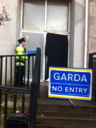 The scene outside the apartment block where Anthony Fallon was found
