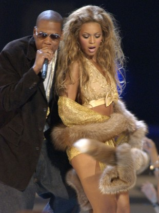 Jay-Z and Beyoncé perform together at the MTV Video Music Awards in 2008