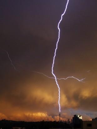 Lightning strikes the Hillbrow Telkom Tower in Johannesburg, South Africa, Friday, 11 December, 2009