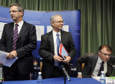 The ECB's Klaus Masuch, the EC's Istvan Szekely and the IMF's Craig Beaumont, in Dublin today.
