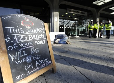 A protest outside the former HQ of Anglo Irish Bank in Dublin this week.