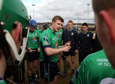 LIT captain Joe Canning speaks to his team-mates before the 2010 Fitzgibbon Cup quarter-final.