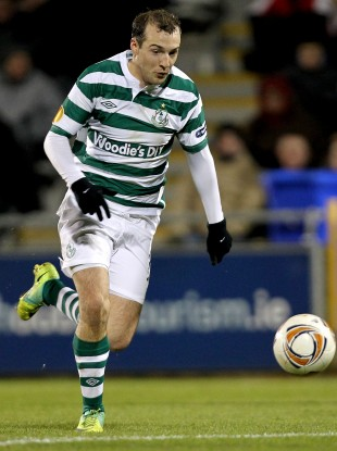 Sheppard in action for Rovers in the Europa League.