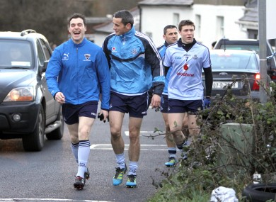 Paddy Andrews, Paul Brogan, John Small and Alan Brogan make their way to the pitch in Tallaght.