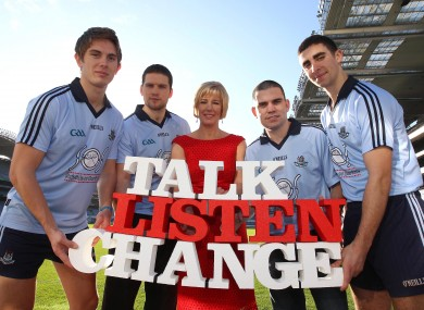 Michael Fitzsimons, Conal Keaney, boxing champ Bernard Dunne and James McCarthy with SOS CEO Caroline McGuigan.