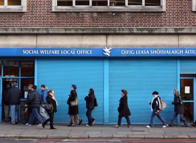 A queue at a social welfare office in Dublin