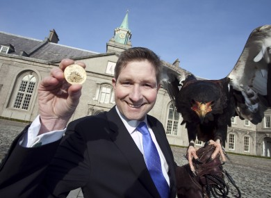 Tim Banks, Director of Dublin Mint Office with Batty the Eagle at the Irish Museum of Modern Art