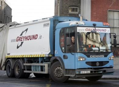 A Greyhound waste truck in Dublin city