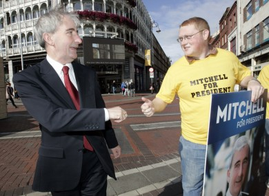 Young Fine Gael president Eric Keane gives failed presidential candidate Gay Mitchell the thumbs-up during the election last year.
