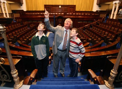 John O'Donoghue in the Dáil chamber in 2008 on the inaugural Oireachtas Family Day which opened the chambers to the public