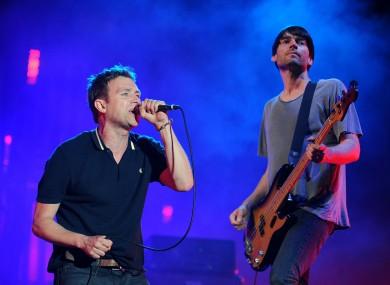 Blur's lead singer Damon Albarn and Alex James.