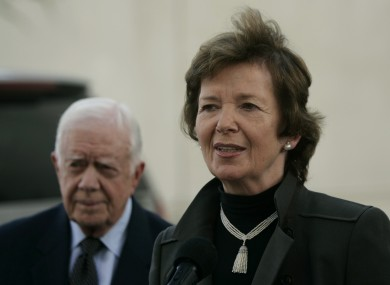 Mary Robinson pictured with former US president Jimmy Carter