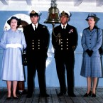 Prince Andrew, later the Duke of York, served in that war as a helicopter pilot - which made the Queen outwardly proud though inwardly fearful. Here the Queen, Andrew, Prince Philip and Princess Anne pose on the aircraft carrier HMS Invincible after Andrew's return from war.