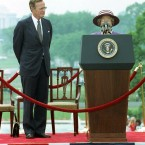 In 1991 the Queen returned the visit, heading for Washington a month after the conclusion of the Gulf War. Her visit to the White House was remembered more for a logistical screw-up than for diplomatic reasons, however: no platform was provided behind her podium, meaning the Queen's face was obscured to photographs by a microphone.
