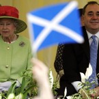 Another hallmark of her reign, aside from the gradual dissolution of Britain's worldwide empire, is the devolution of power to other countries within the UK. Here she is pictured alongside the SNP's Alex Salmond at the Scottish Parliament in 2005. Salmond, Scotland's First Minister, is advocating full independence for Scotland in a referendum later this decade.